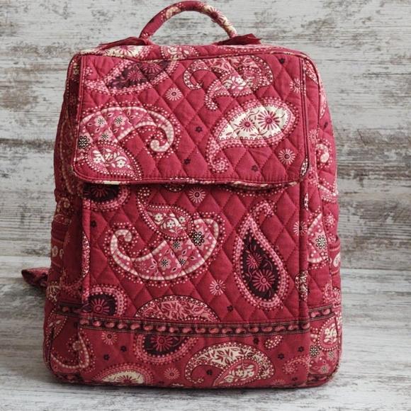 Vera Bradley Mesa Red Paisley Large Backpack